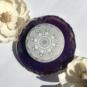 """Flower Mandala"" Selenite Charging Disc, cleansing plate, crystal grid"