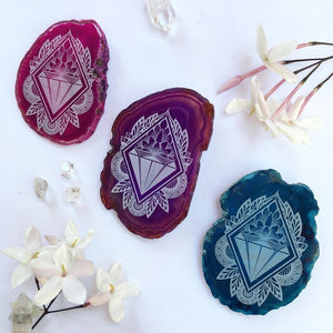 """Lotus Jewel"" Floral Agate Slices - Flower Essence Collection"