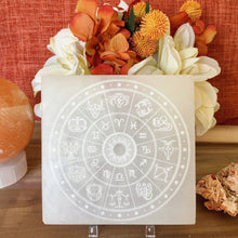 """Zodiac Wheel"" Horoscope Selenite Cleansing Disc, Charging Plate and Crystal Grid"