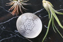 "Etched Selenite Palm Stone ""Metatron's Cube"""
