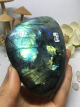 #129 Luxurious Gold and Purple Extra Large Labradorite Palmstone Etched with Flower Mandala