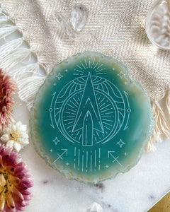 """Intent"" Sagittarius Arrow Zodiac Agate Slices - Round"