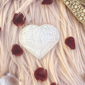 "FREE with $50 Purchase ""Lotus Belle"" Small Sacred Selenite Heart"