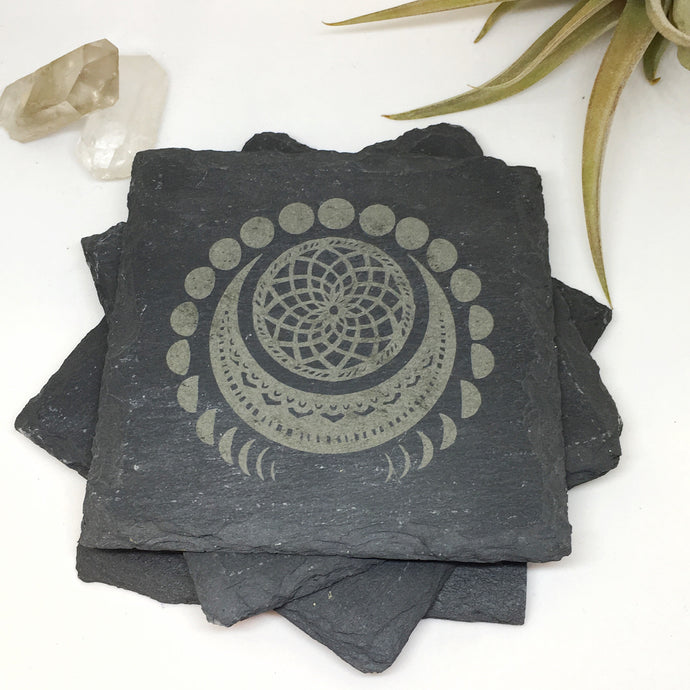 Manifest Moon Slate Coasters Set