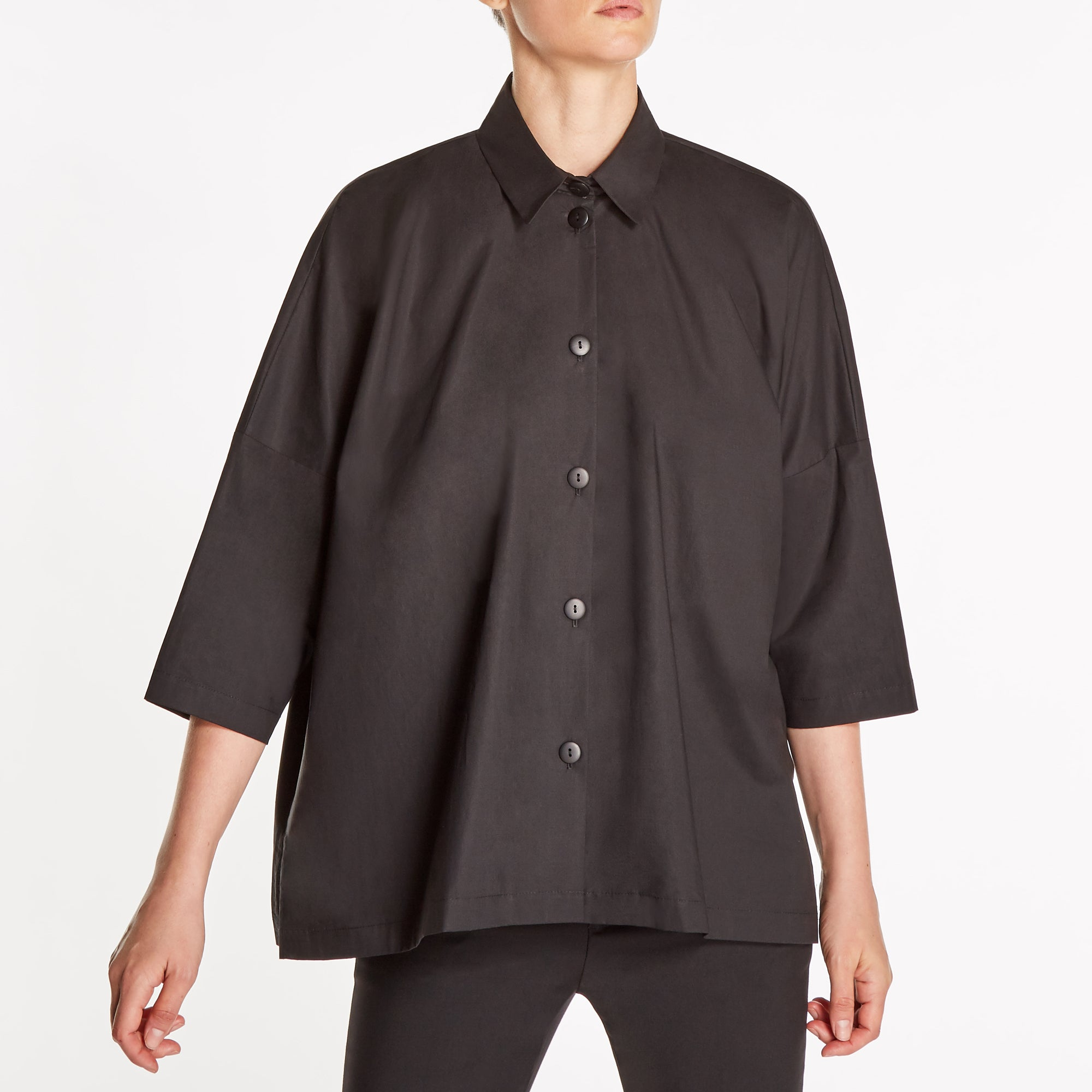 ITALIAN COTTON STANDARD LENGTH OVERSIZED SHIRT | MODERN BLACK