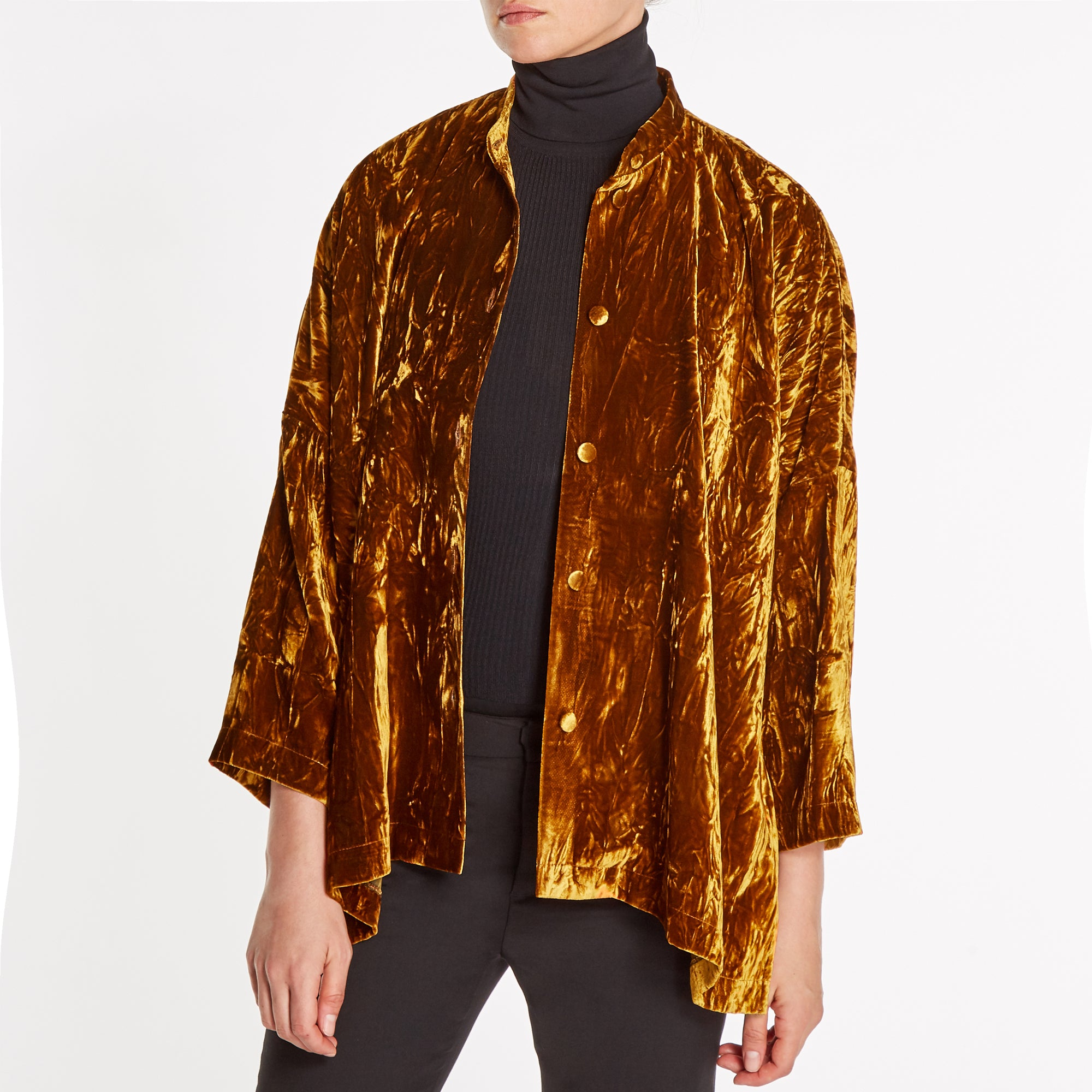 CRUSH-VELVET OVERSIZED SHIRT-JACKET | COPPER