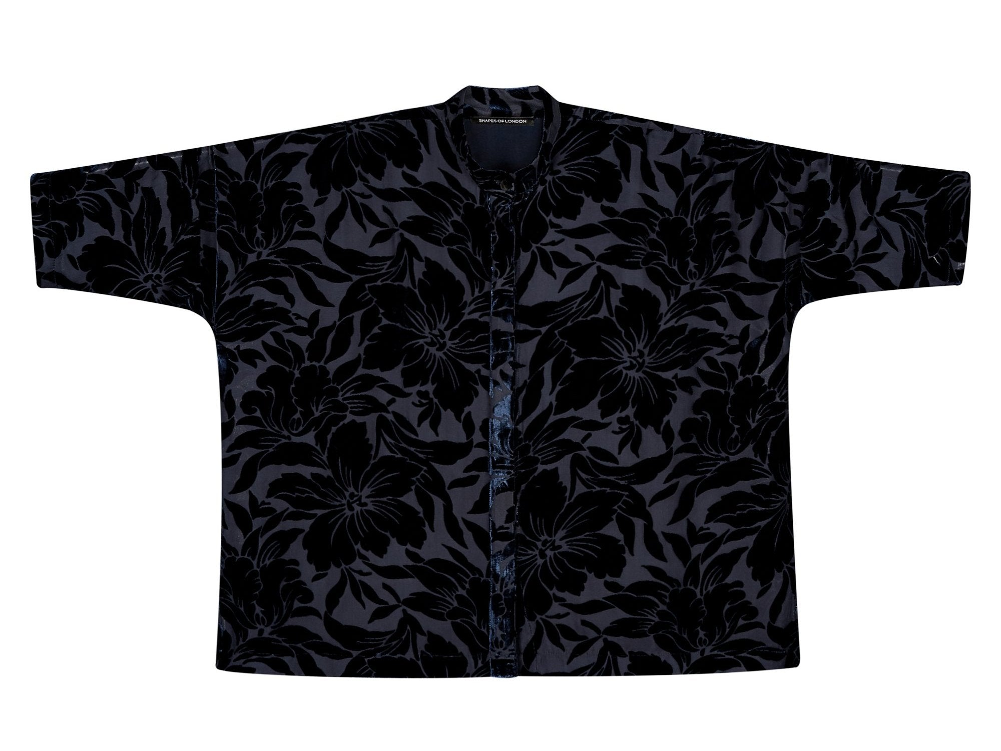 DEVORE SILK-VELVET OVERSIZED SHIRT | NAVY FLORAL