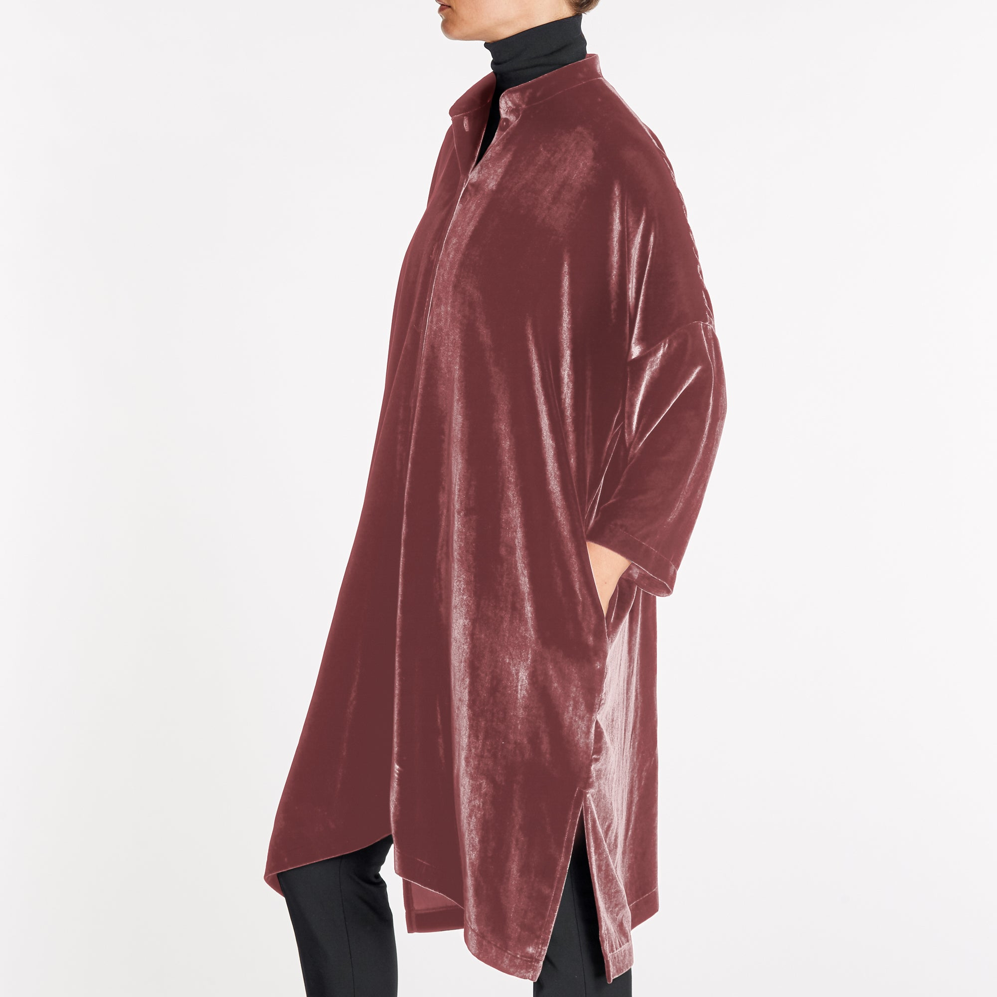 SILK-VELVET OVERSIZED SHIRT-COAT | COPPER ROSE
