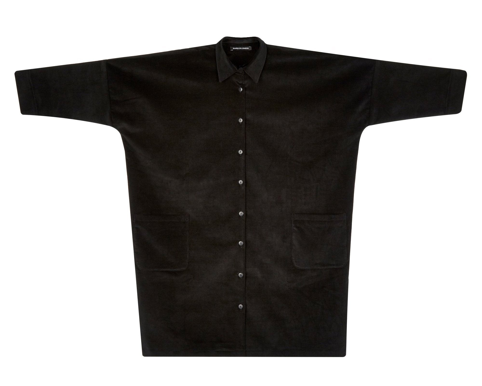 PIMA-CORDUROY OVERSIZED SHIRT-COAT | SOFT BLACK
