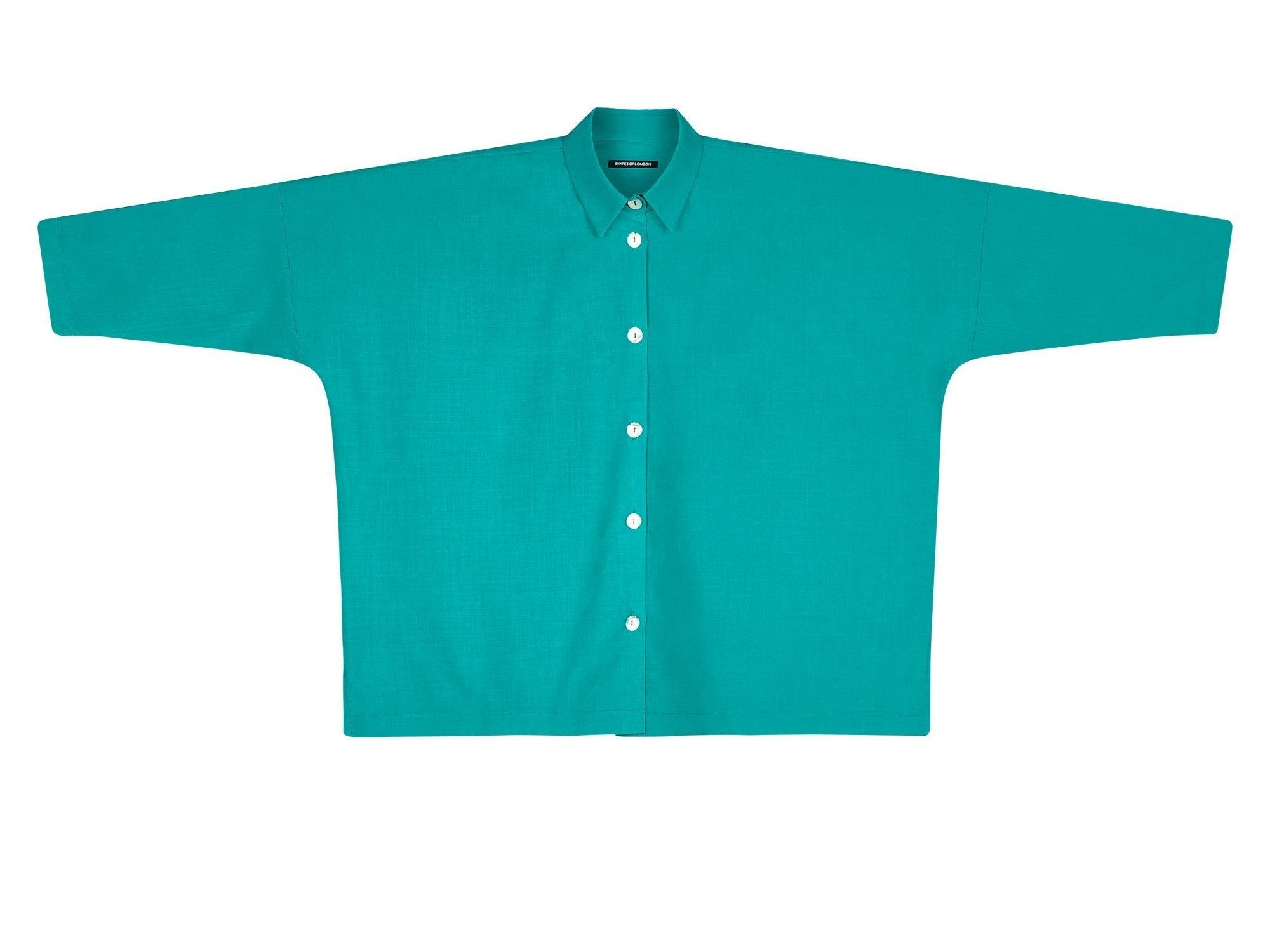 LIGHT WOOL OVERSIZED SHIRT | VIVID TURQUOISE