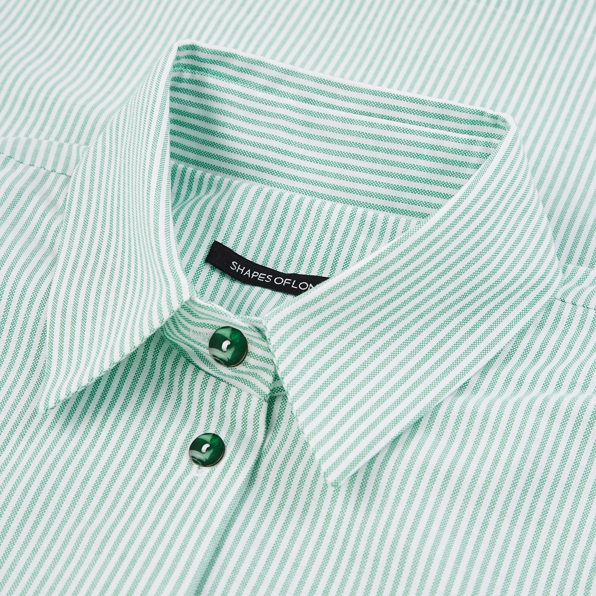 SOFT COTTON OVERSIZED SHIRT | RIVIERA GREEN STRIPE & WHITE SHELL BUTTONS