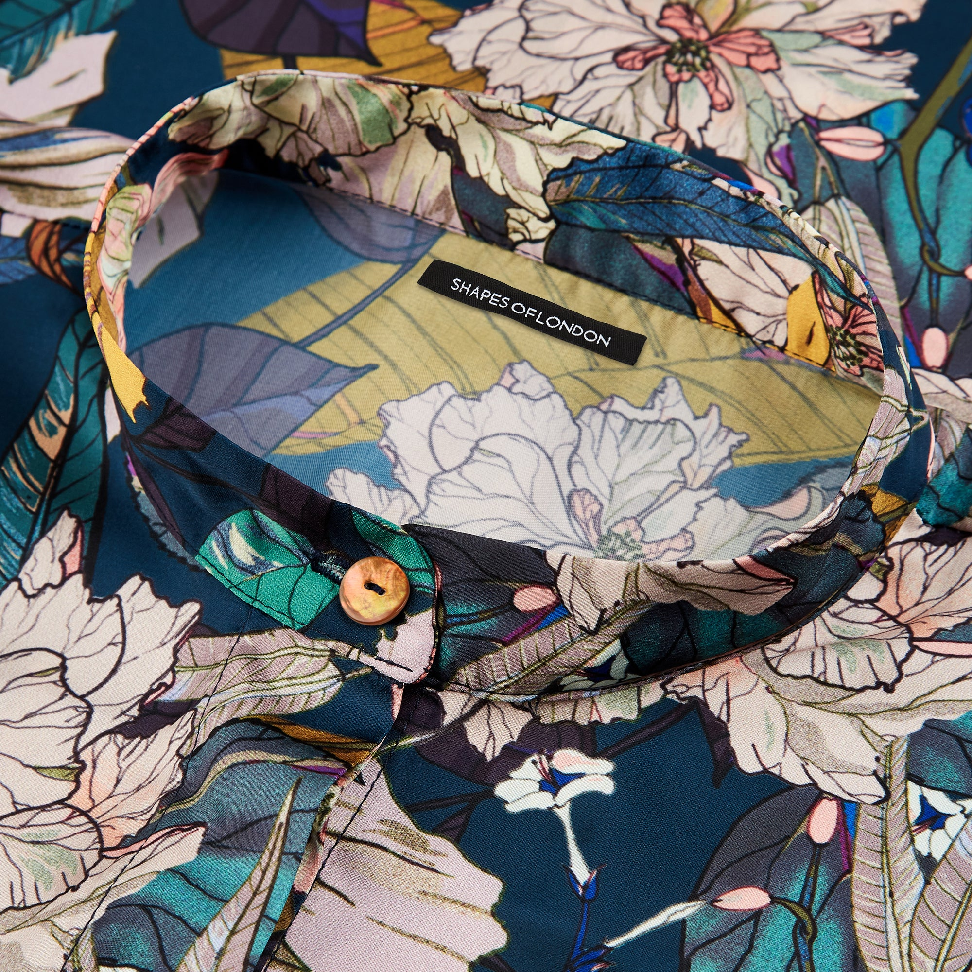 SILKY ITALIAN PRINT OVERSIZED SHIRT-JACKET | FLORAL HIBISCUS ON NAVY