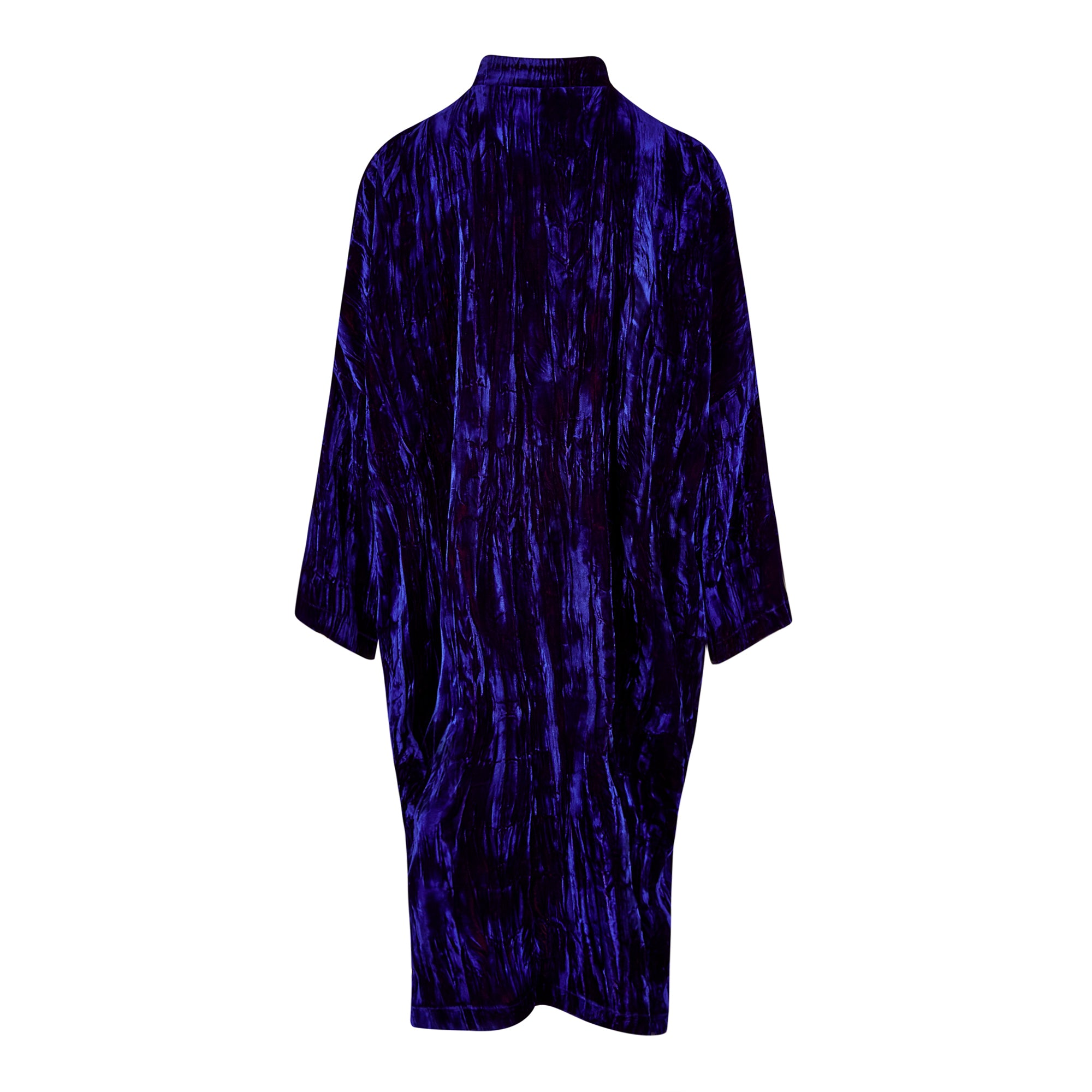 CRUSH-VELVET OVERSIZED SHIRT-COAT WITH POCKETS | MIDNIGHT BLUE