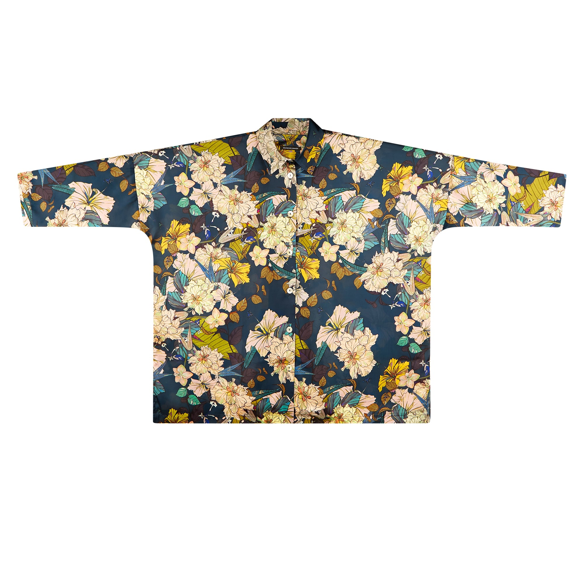 SILKY ITALIAN PRINT LONGER OVERSIZED SHIRT | FLORAL HIBISCUS ON NAVY
