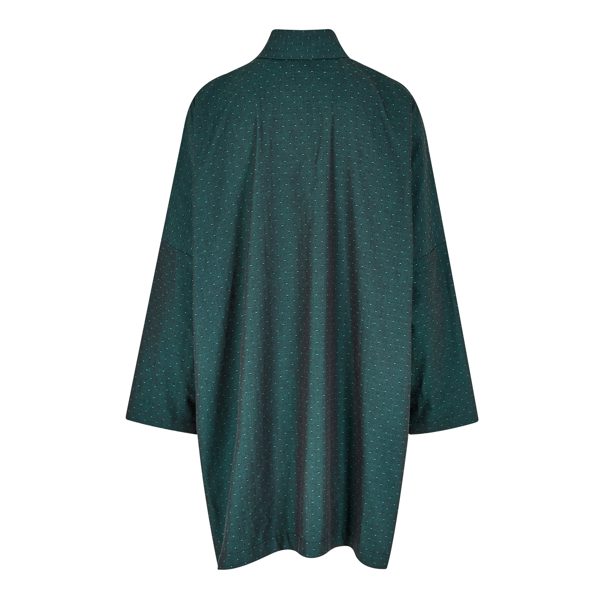 EMERALD DOT ORGANIC CHAMBRAY LONGER OVERSIZED SHIRT