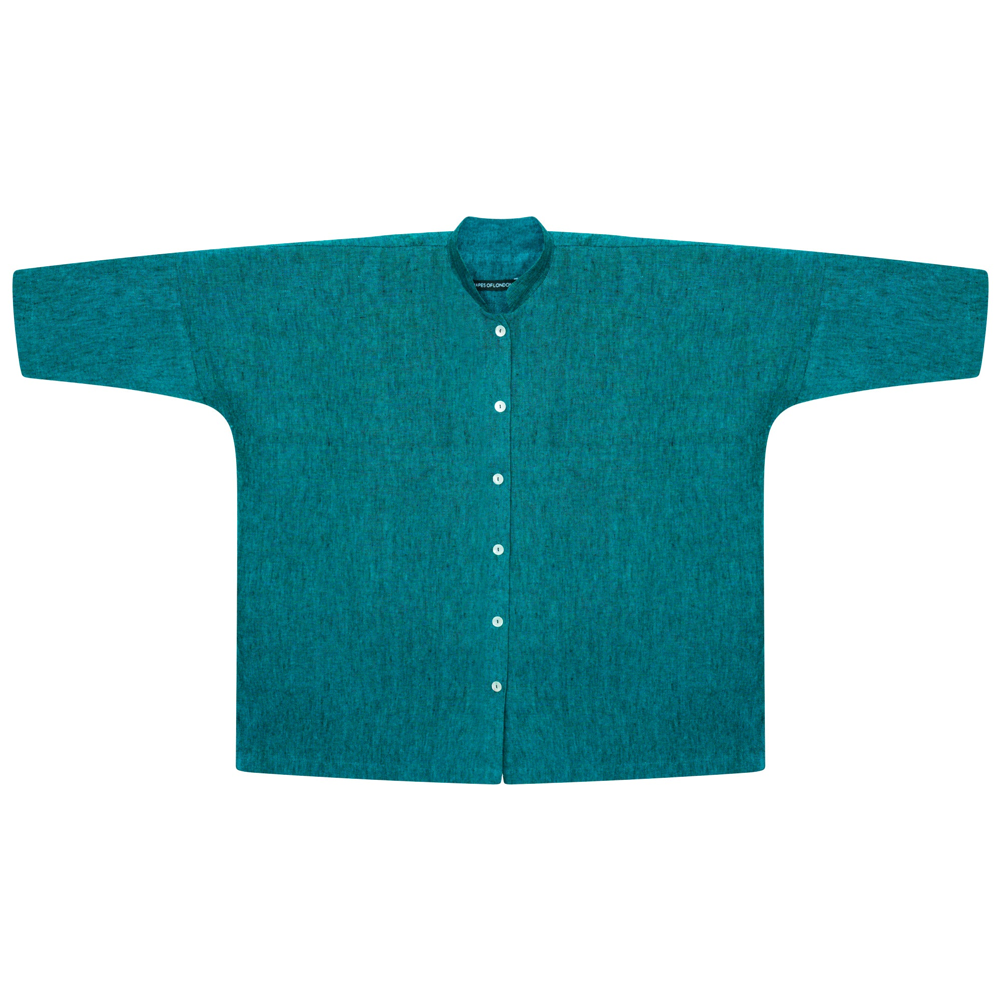 IRISH LINEN  MANDARIN OVERSIZED SHIRT-JACKET | TURQUOISE