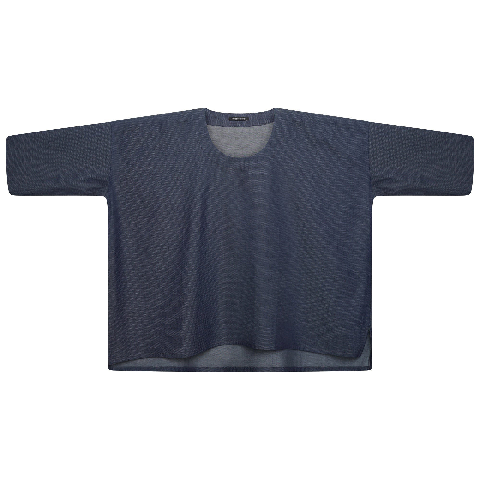 WOVEN MICRODOT DENIM OVERSIZED TOP