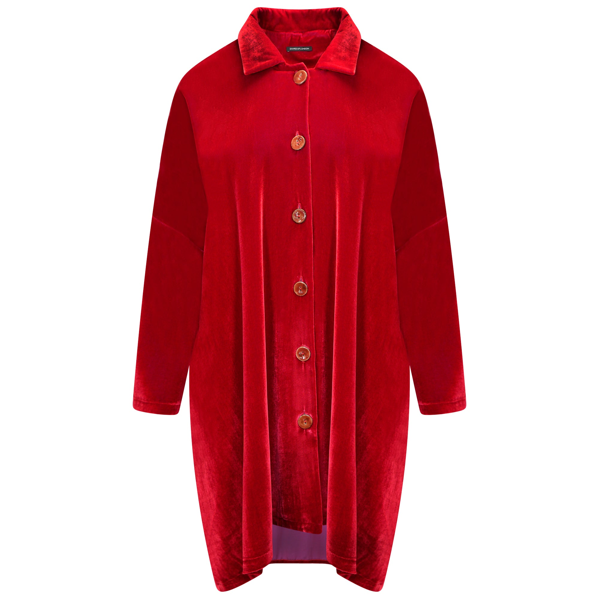 SILK-VELVET OVERSIZED TRAPEZE TUNIC | BRIGHT RED