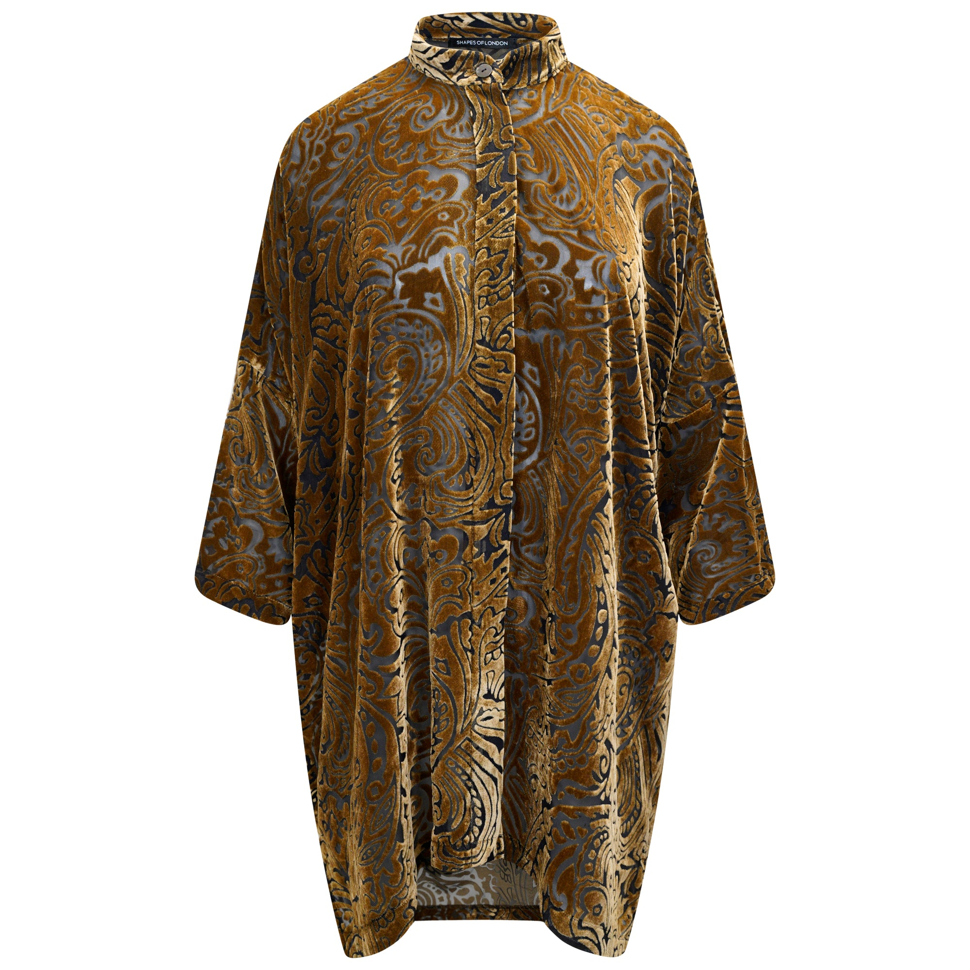 DEVORE SILK-VELVET LONGER OVERSIZED SHIRT-JACKET | BRONZE PAISLEY
