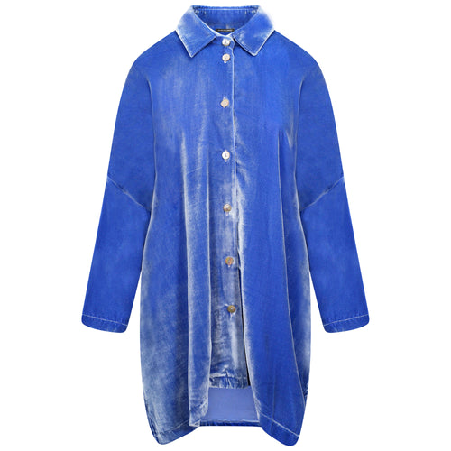 SILK-VELVET LONGER OVERSIZED SHIRT-JACKET | IRIS