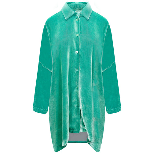 SILK-VELVET LONGER OVERSIZED SHIRT-JACKET | SEA ICE