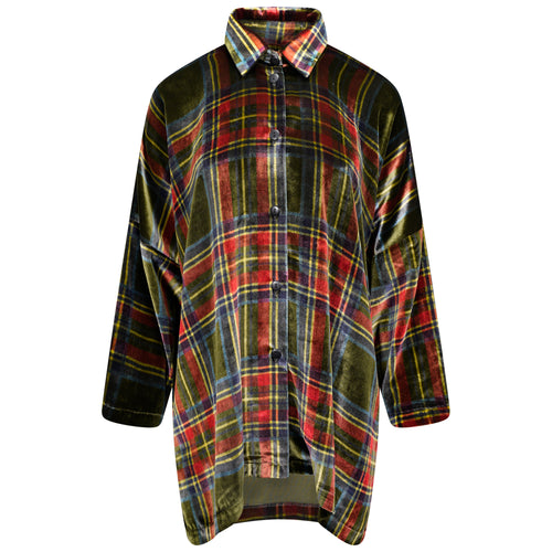 SILK-VELVET OVERSIZED SHIRT-JACKET | TARTAN GREEN