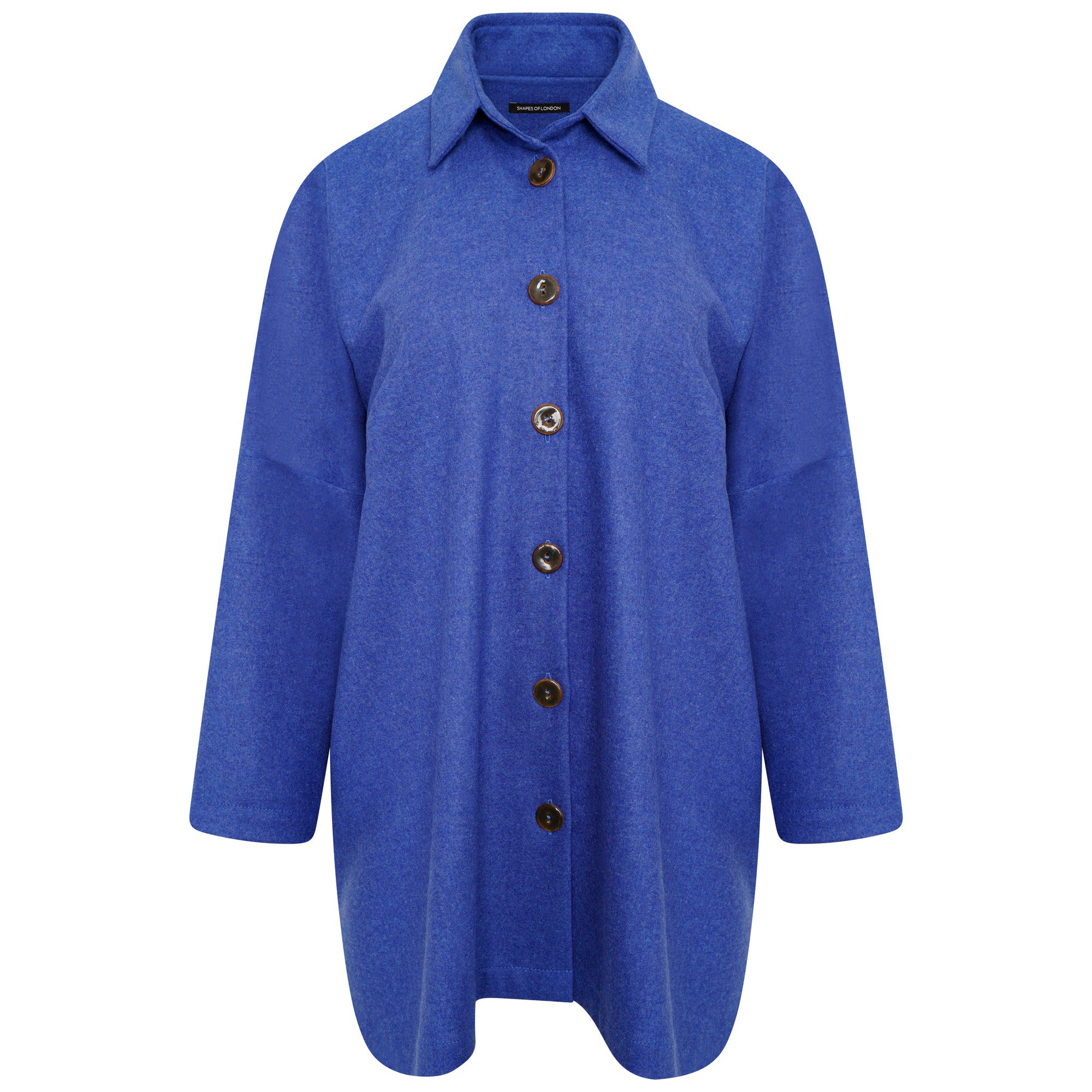 WOOL LONGER OVERSIZED SHIRT-JACKET | BLUE