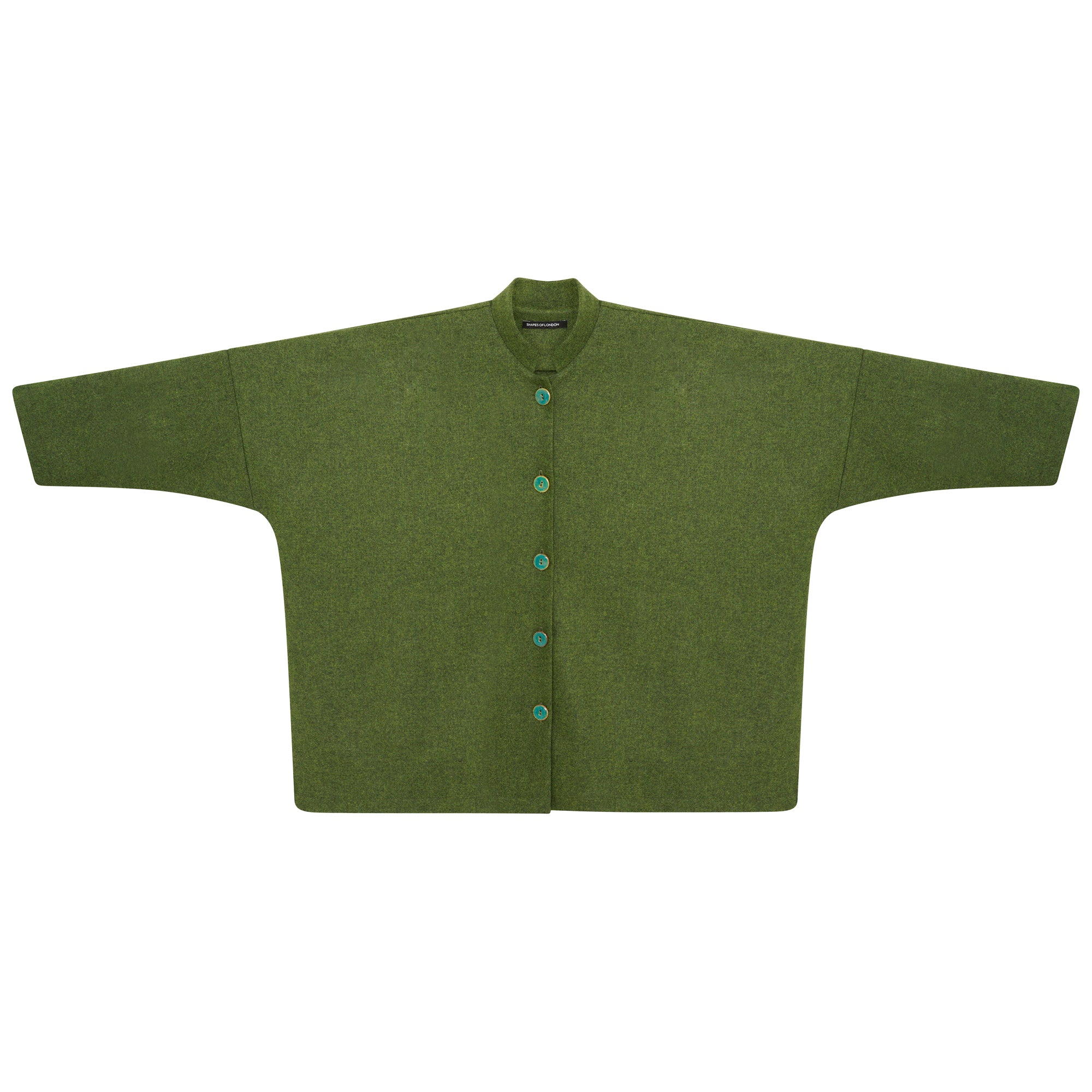 WOOL MANDARIN OVERSIZED SHIRT-JACKET | GREEN
