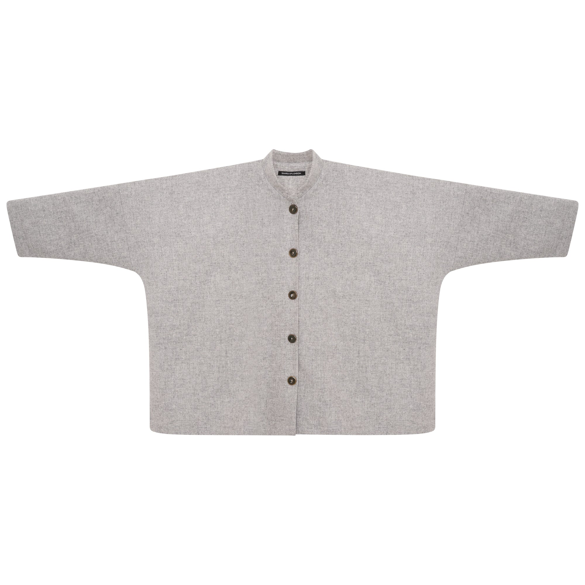 WOOL MANDARIN OVERSIZED SHIRT-JACKET | LIGHT GREY