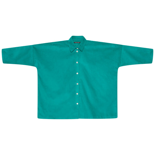 CORDUROY LONGER OVERSIZED SHIRT | EMERALD GREEN
