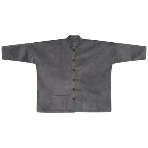 CORDUROY LONGER OVERSIZED SHIRT-JACKET | PEWTER GREY