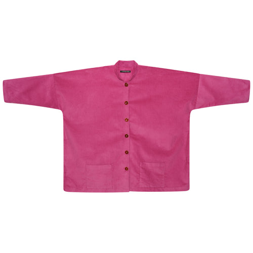 CORDUROY LONGER OVERSIZED SHIRT-JACKET | GERANIUM