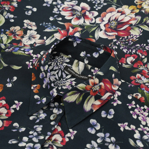 BUTTONED CUFF DRAPEY VISCOSE OVERSIZED SHIRT | DARK NAVY FLORAL PRINT