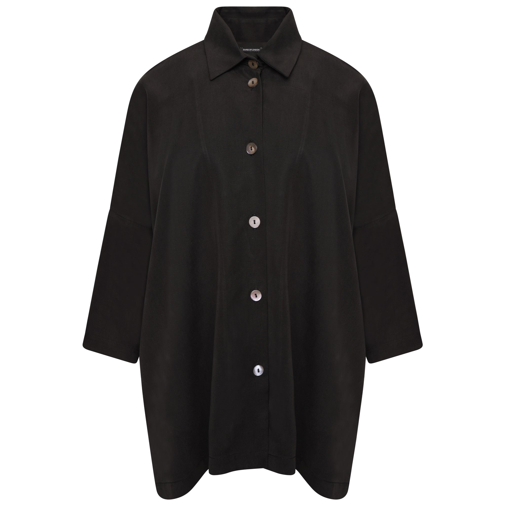 DRAPEY TENCEL OVERSIZED SHIRT | SOFT BLACK