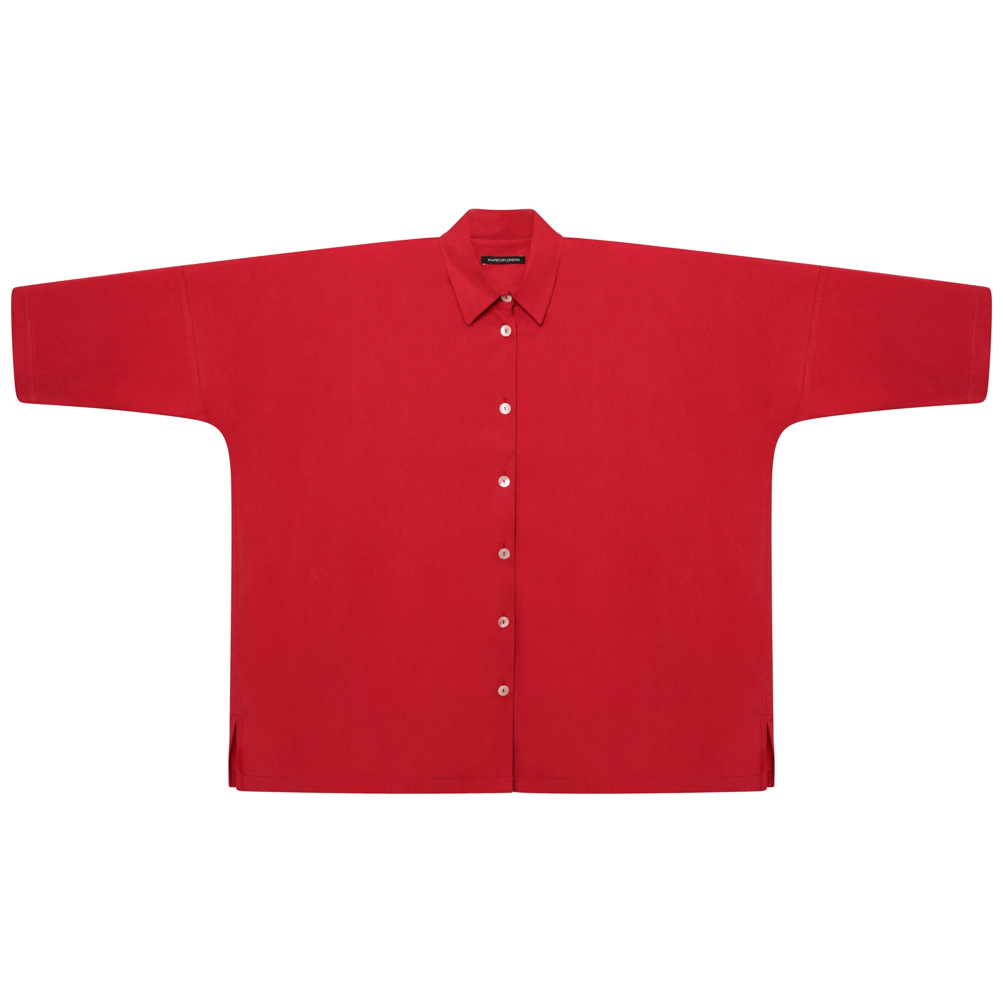 DRAPEY TENCEL LONGER OVERSIZED SHIRT | CERISE RED