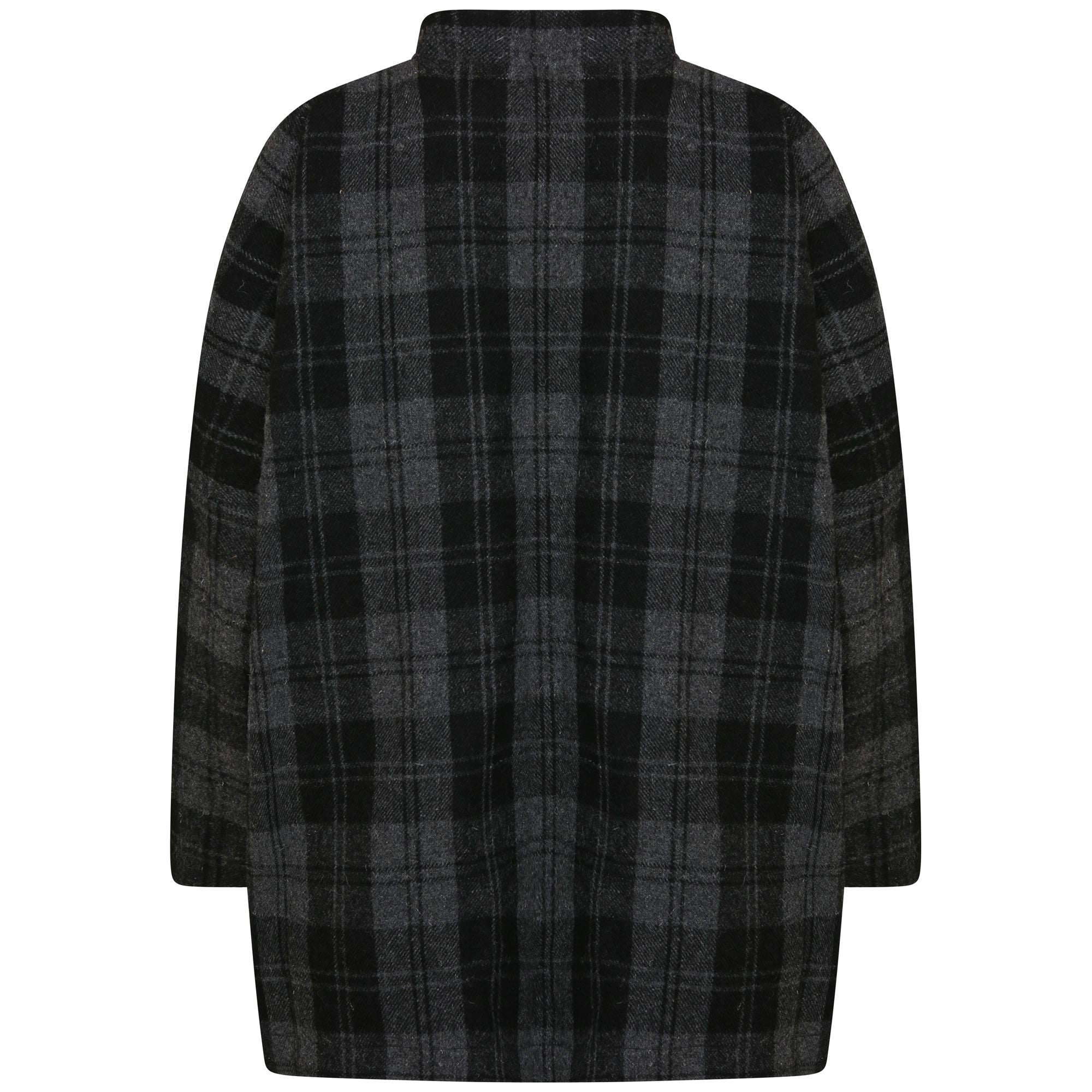 BRITISH WOOL OVERSIZED JACKET SHIRT | CHARCOAL BLUE PLAID
