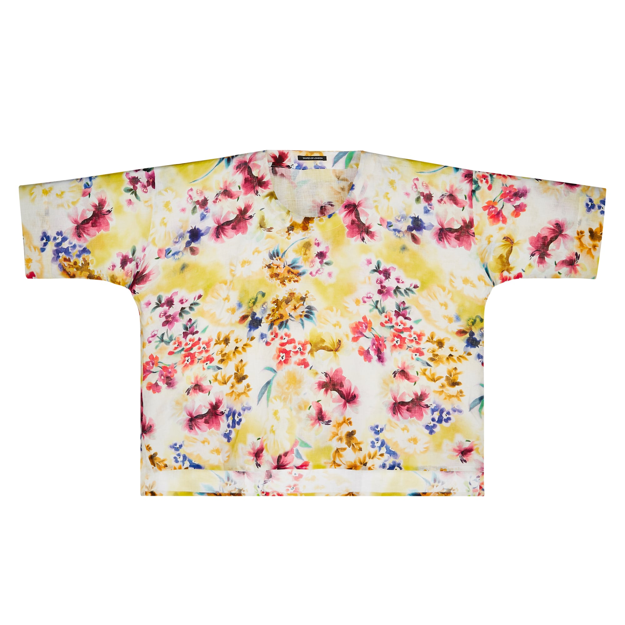 ITALIAN PRINTED LINEN LONGER BACK TOP | YELLOW FLORAL