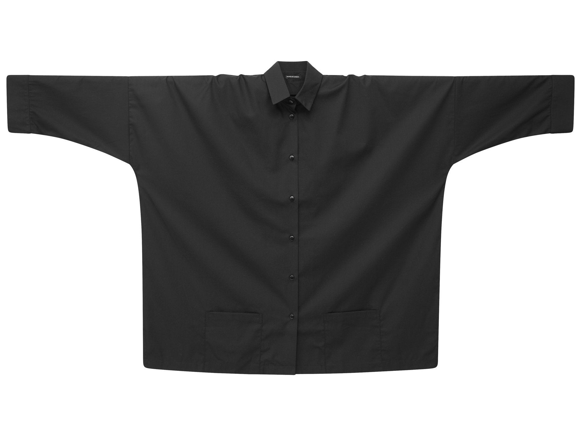 ARTISTIC PATCH POCKETS LONGER OVERSIZED SHIRT | ARTIST'S BLACK