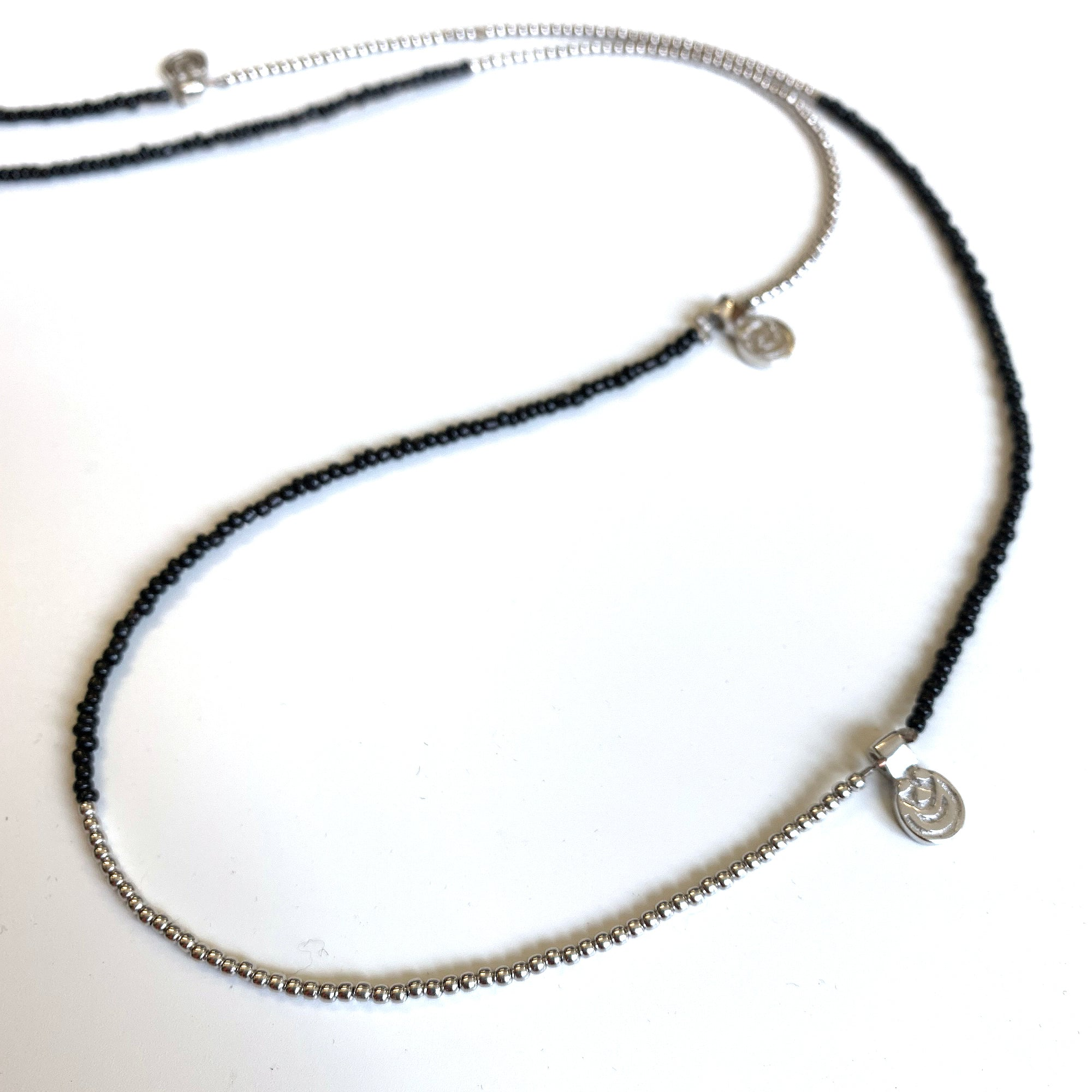 SILVER BEADS LONG CHARM NECKLACE