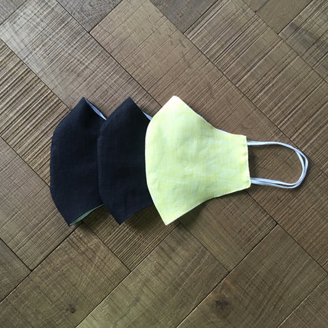 REUSABLE LINEN FACE MASK - BLACK