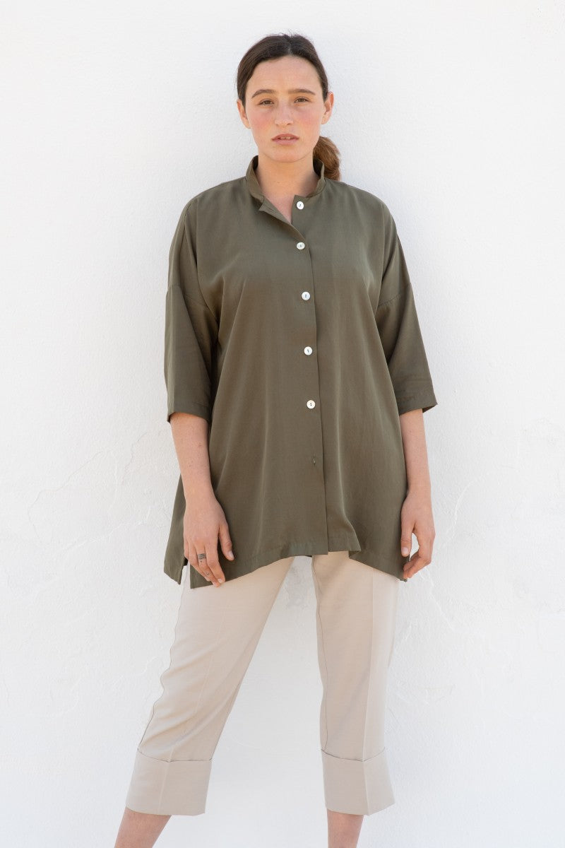 DRAPEY TENCEL OVERSIZED SHIRT | CACTUS GREEN