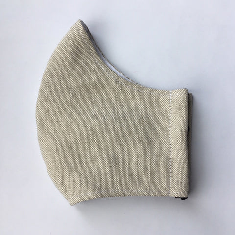WASHABLE IRISH LINEN FACE MASK -  KHAKI SLATE