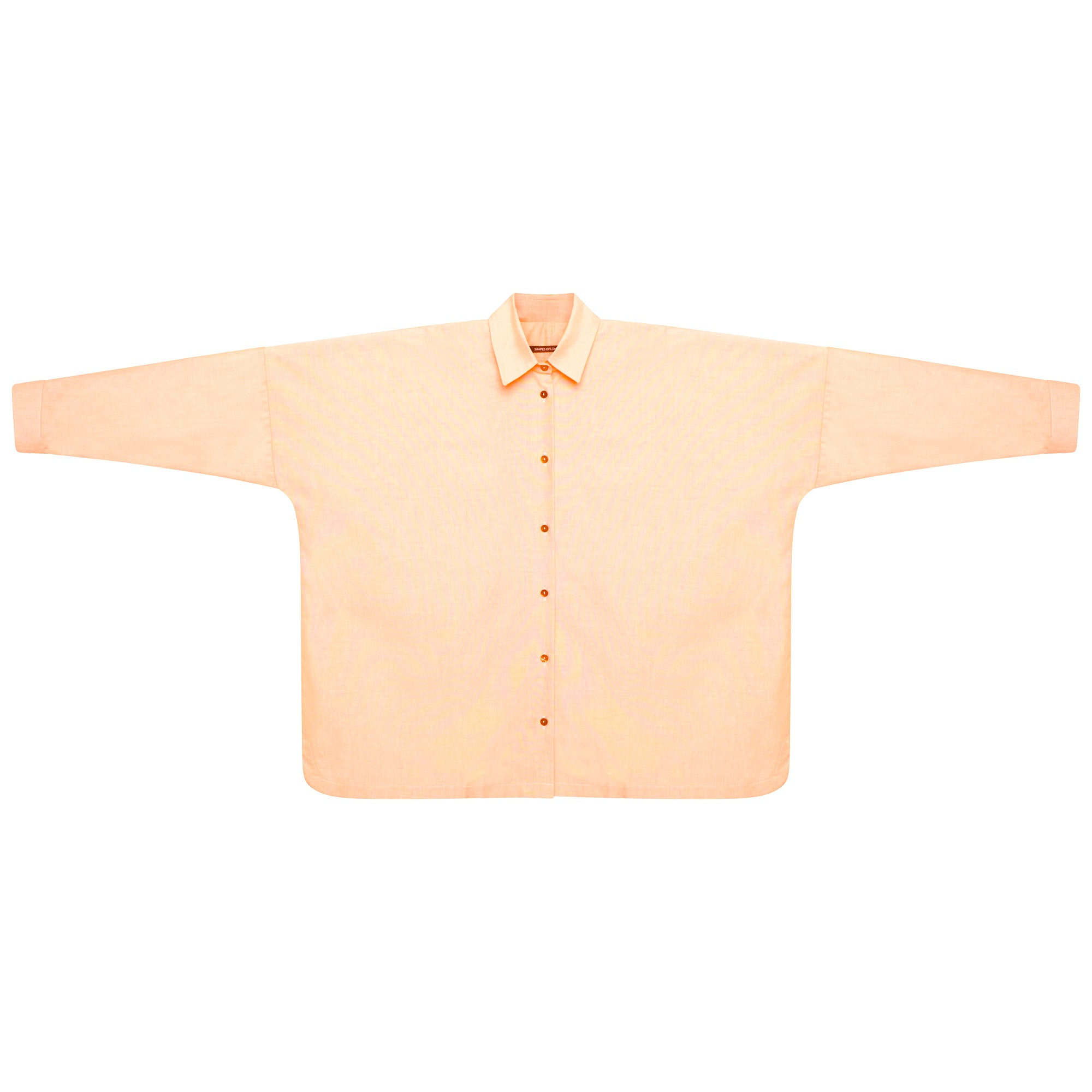 SOFT COTTON LONG SLEEVE SHIRT | PASTEL ORANGE WITH APRICOT BUTTONS