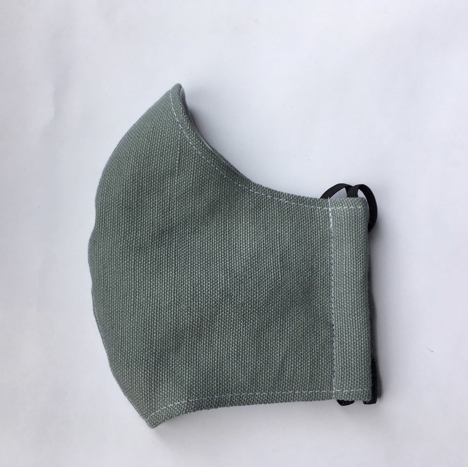WASHABLE IRISH LINEN FACE MASK -  SAGE GREEN