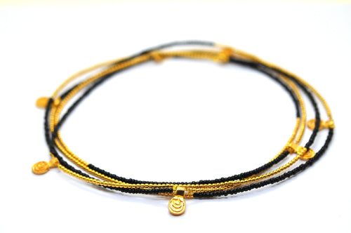 GOLD BEADS LONG CHARM NECKLACE