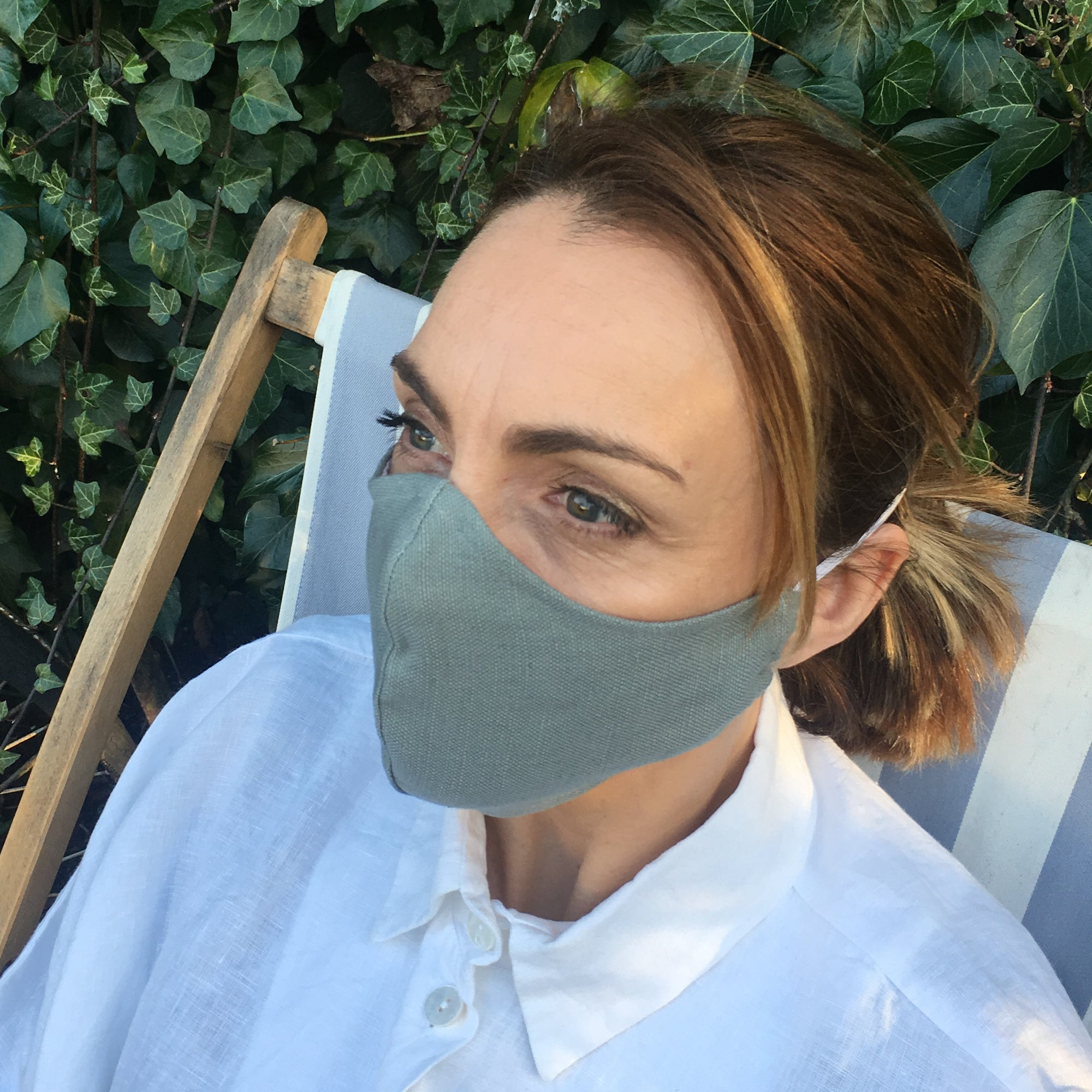 WASHABLE IRISH LINEN FACE MASK - SMOKE BLUE