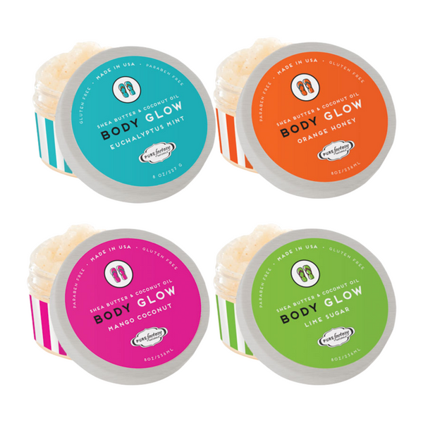 Flip Flop Body Glow Sugar Scrub comes in 4 different scents.