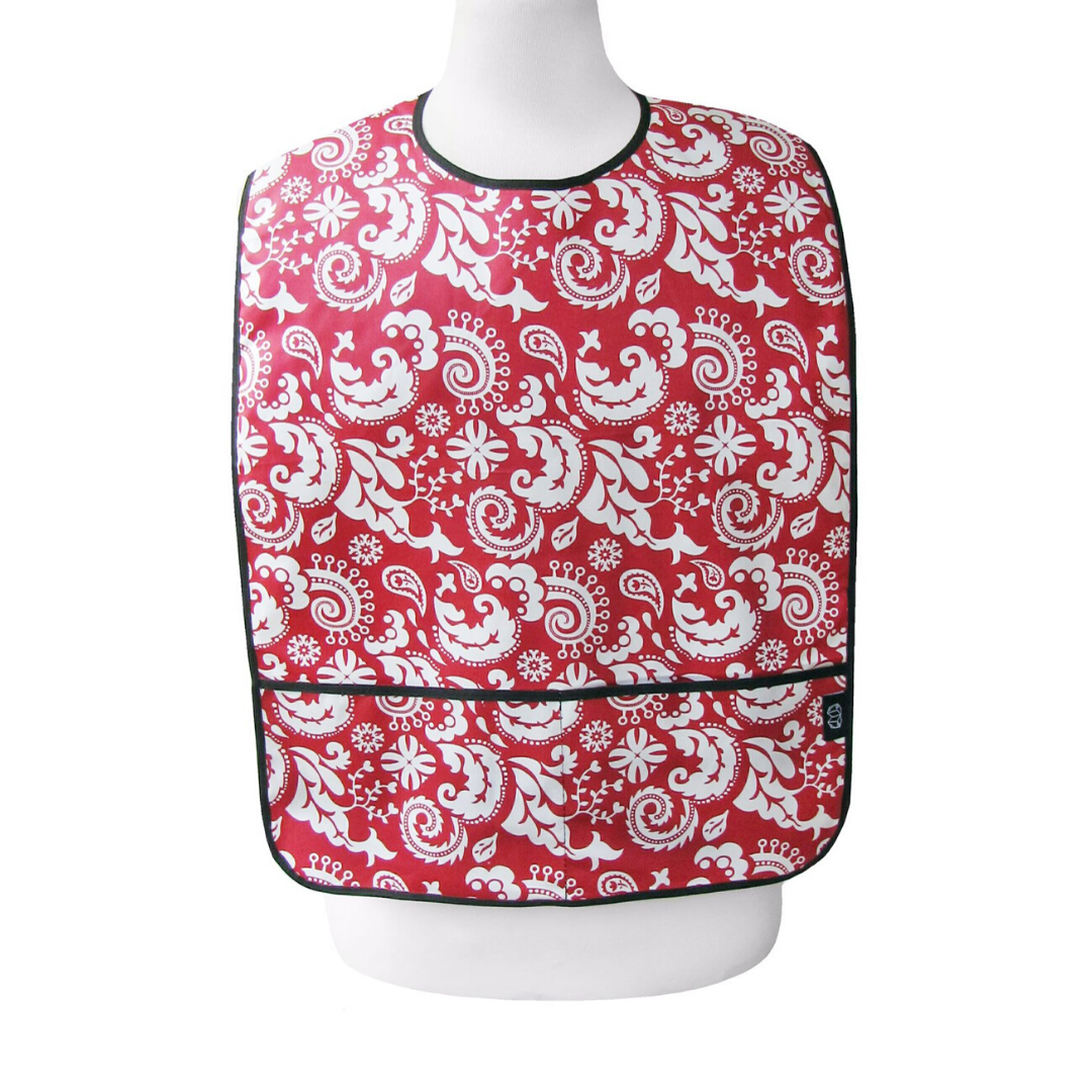 Red Damask Adult Bib