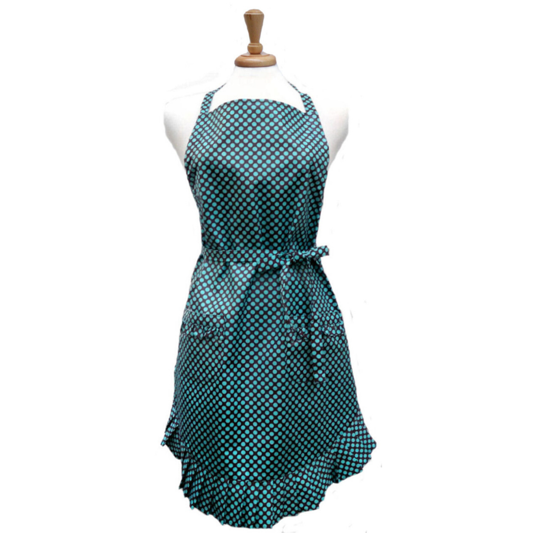 Dotted Turquoise Ruffle Apron