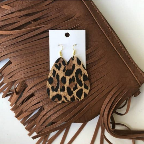 leopard earrings, earrings